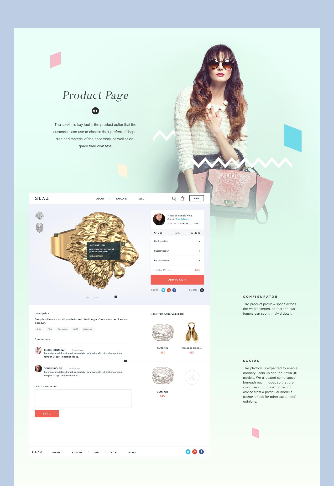 GLΛZ 3D Printed Jewelry Website on Behance
