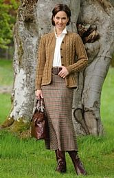 House of Bruar Panelled Worsted Plaid Skirt