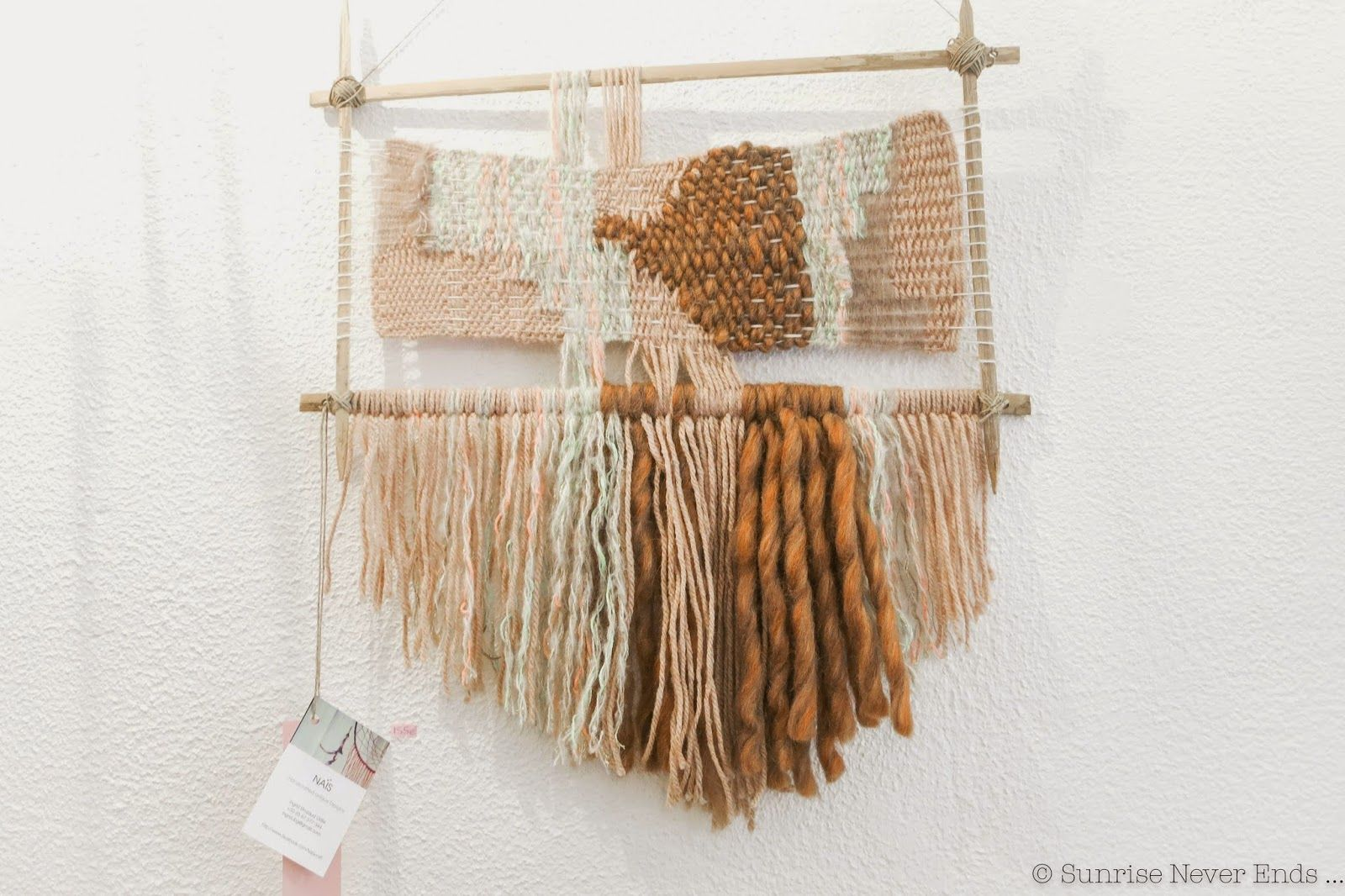 """""""California Latte """" weaving tapestry by ★Naïs★© available @The Clothette pop up Store until the 8th March 2015 : 12 rue du Petit Thouars 75003 Paris open everyday ! Recycled bamboo sticks homemade loom mohair, caramel bulky wool, rainbow lurex wool. 43cm x 60cm"""