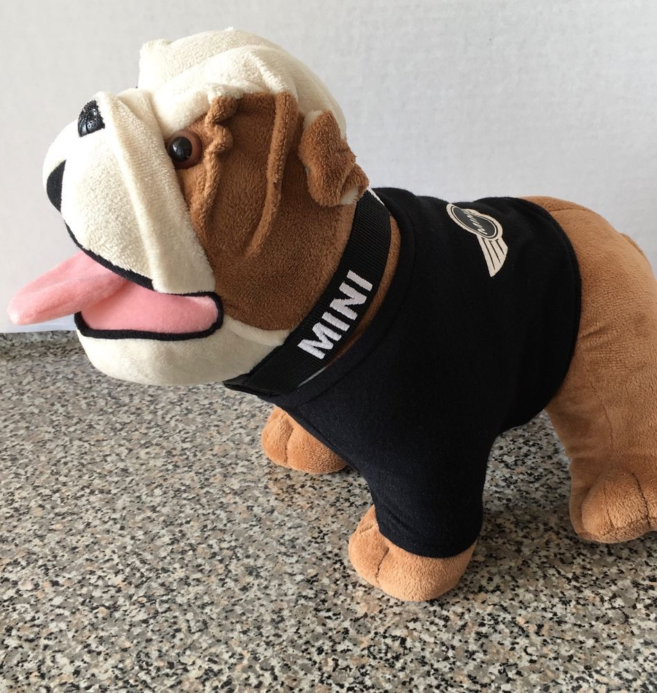 Black dog t shirt ebay - Mini Cooper Bmw Large 12 Plush Black Shirt Collar English Bulldog Stuffed Brown