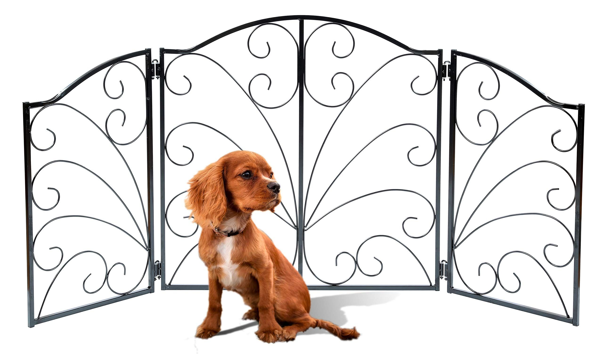 Zoogamo 3 Panel Arched Scroll Design Metal Pet Gate 24 Tall And Expands Up To 48 Wide Durable Lightweight Extra Wide Metal Dog Fence Pet Gate Outdoor Dog Outdoor pet gate extra wide