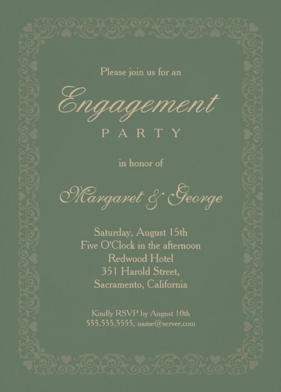 Elegant Asparagus Green Engagement Invitation Template  Perfect