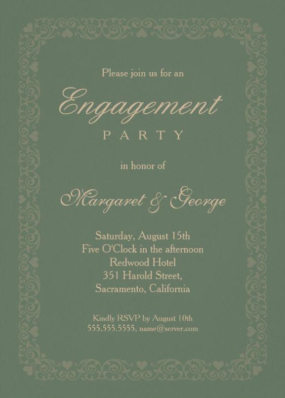 Elegant asparagus green engagement invitation template - Perfect