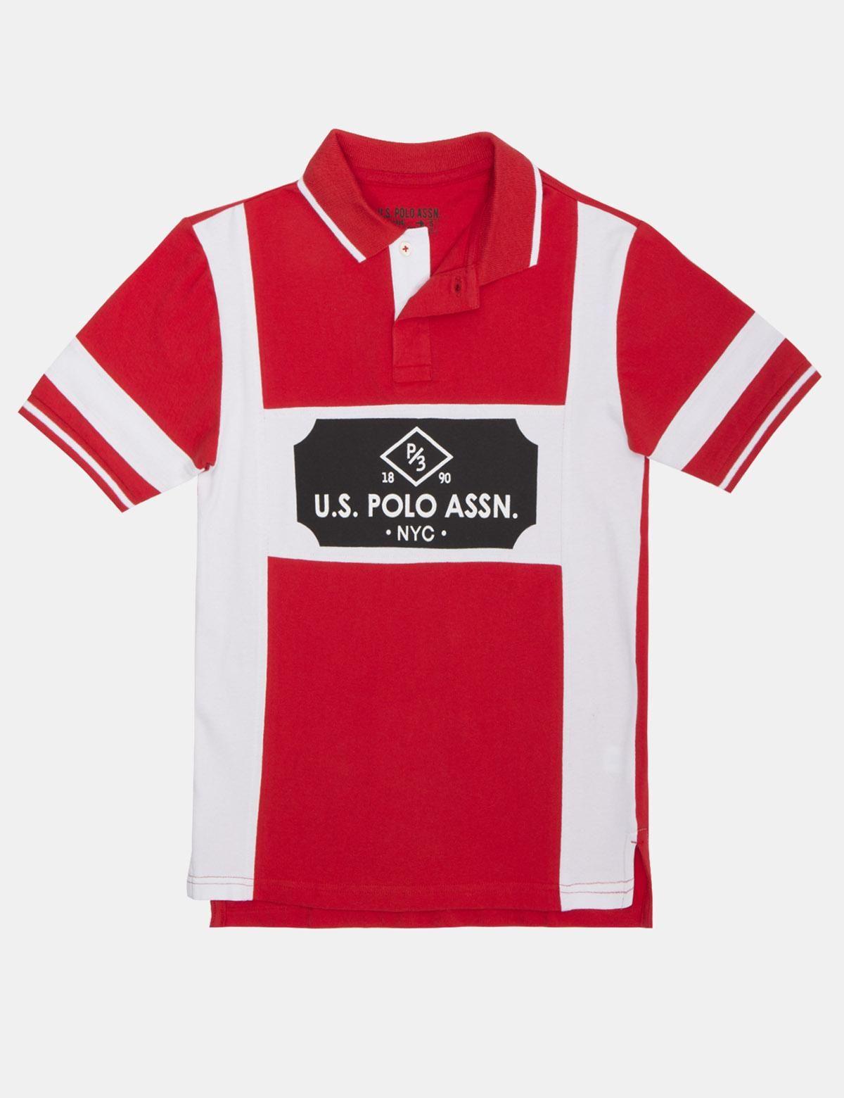 Us Polo Assn Us Polo Chest Stripe Polo Shirt Crimson Fire