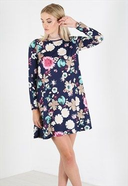 4354 Be Jealous Floral Jersey Long Sleeve Skater Mini Dress
