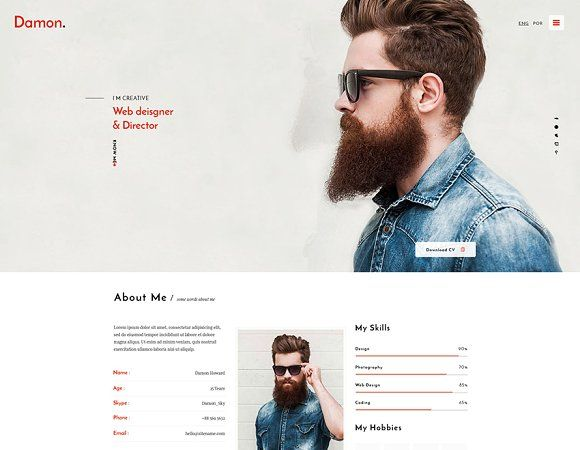 Damon - Resume HTML Template Template, Resume and Html templates - resume html template