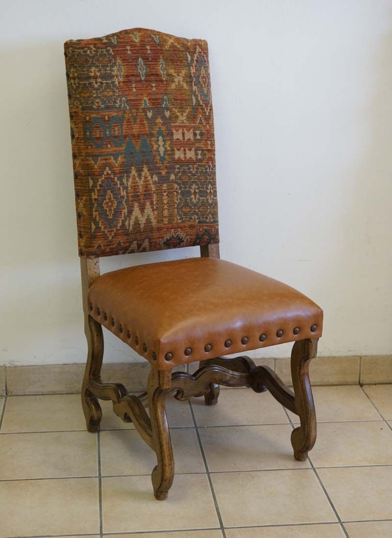Southwestern Sunset Dining Chair Western Dining Chairs Subtle sunset hues on the fabric front and back Caramel color leather seat