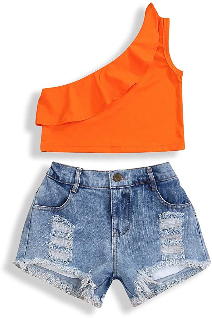 YOUNGER TREE 2Pcs Fashion Toddler Kids Baby Girl Denim Shorts Sets Sleeveless T-Shirt Top Ripped Shorts Summer Outfits