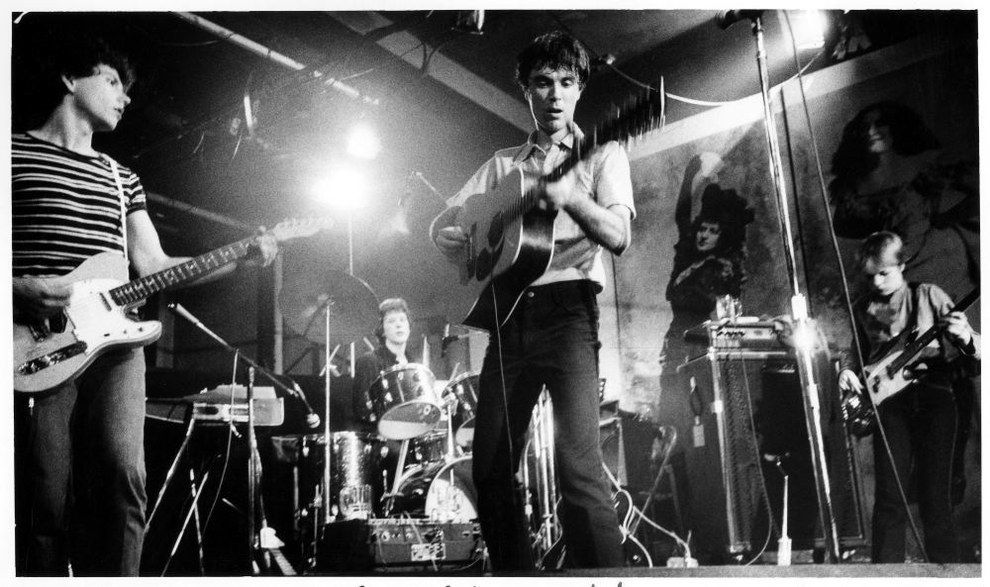 The Talking Heads performing (1977).