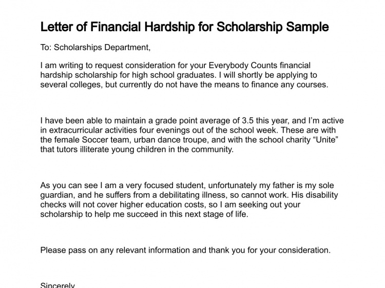 Letter Of Financial Hardship For Scholarship Sample
