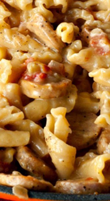 Cheesy Chicken Sausage Pasta Skillet