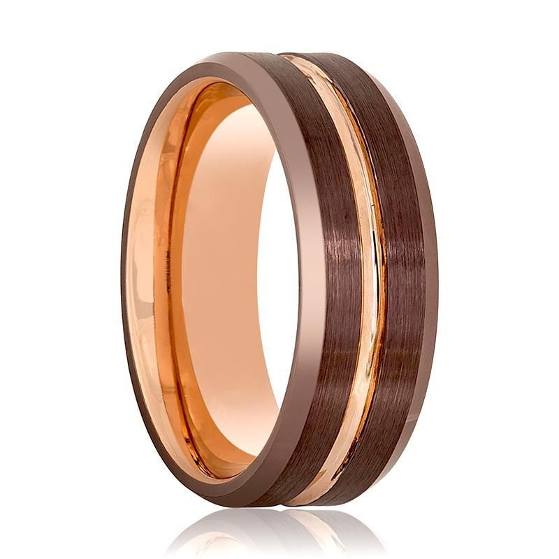 Rose Gold Brown Grooved Men S Tungsten Wedding Band With Beveled Edges Tungsten Carbide Wedding Rings Mens Wedding Bands Tungsten Tungsten Wedding Bands