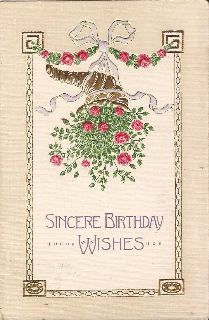 Details about BIRTHDAY Cornucopia of Roses EMBOSSED