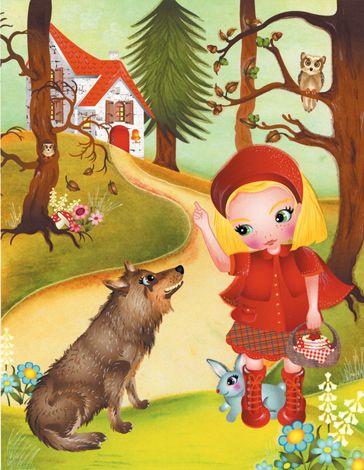 Onwijs Roodkapje komt in het bos en ziet opeens de boze wolf achter een DE-41