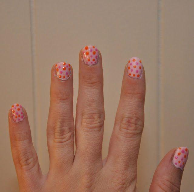 Pink and Orange Polka Dot Nail-Do