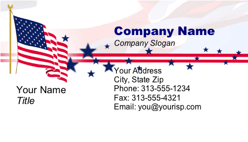 A Patriotic Business Card With A Rippling American Flag And Stars And Stripes Backgr Free Printable Business Cards Printable Business Cards Business Printables