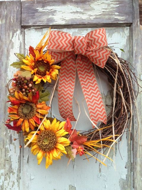 fall sunflower wreath yellow orange burlap by wreathunique 49 00