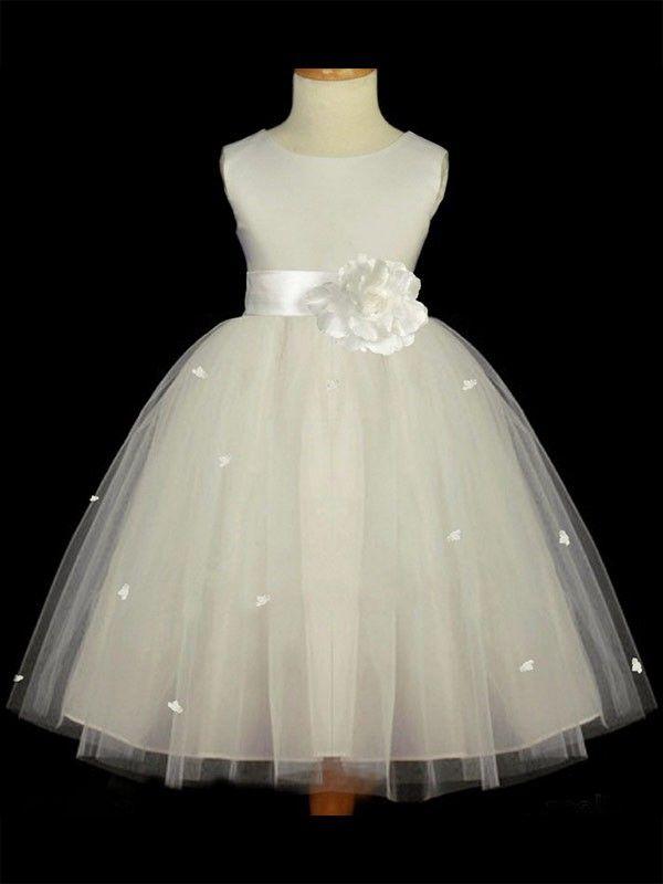 42225c5c5 Linha-A/Princesa U Profundo Sem Mangas Flores Feitas À Mão Longo Tule  Vestidos De Daminha for 455,30 €