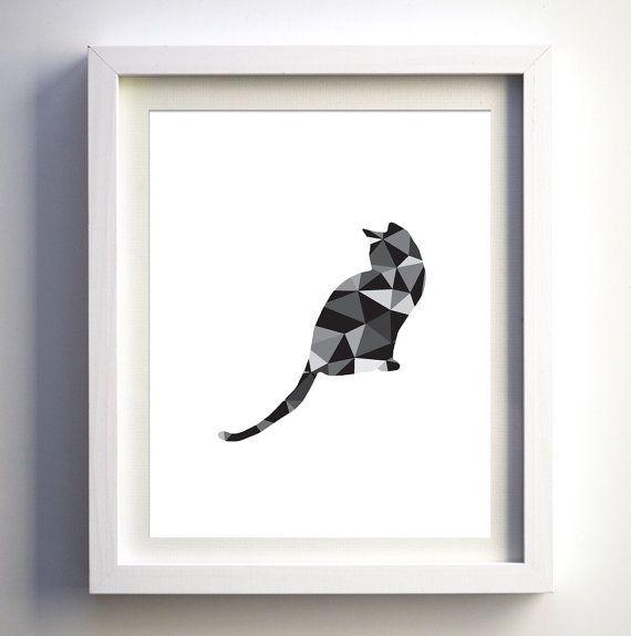 High Quality Black And White Cat Digital Art Print Modern Polygonal Animal Wall Art Cat  Wall Decor Nursery Prints Pet Room Wall Decor Art Geometric Art