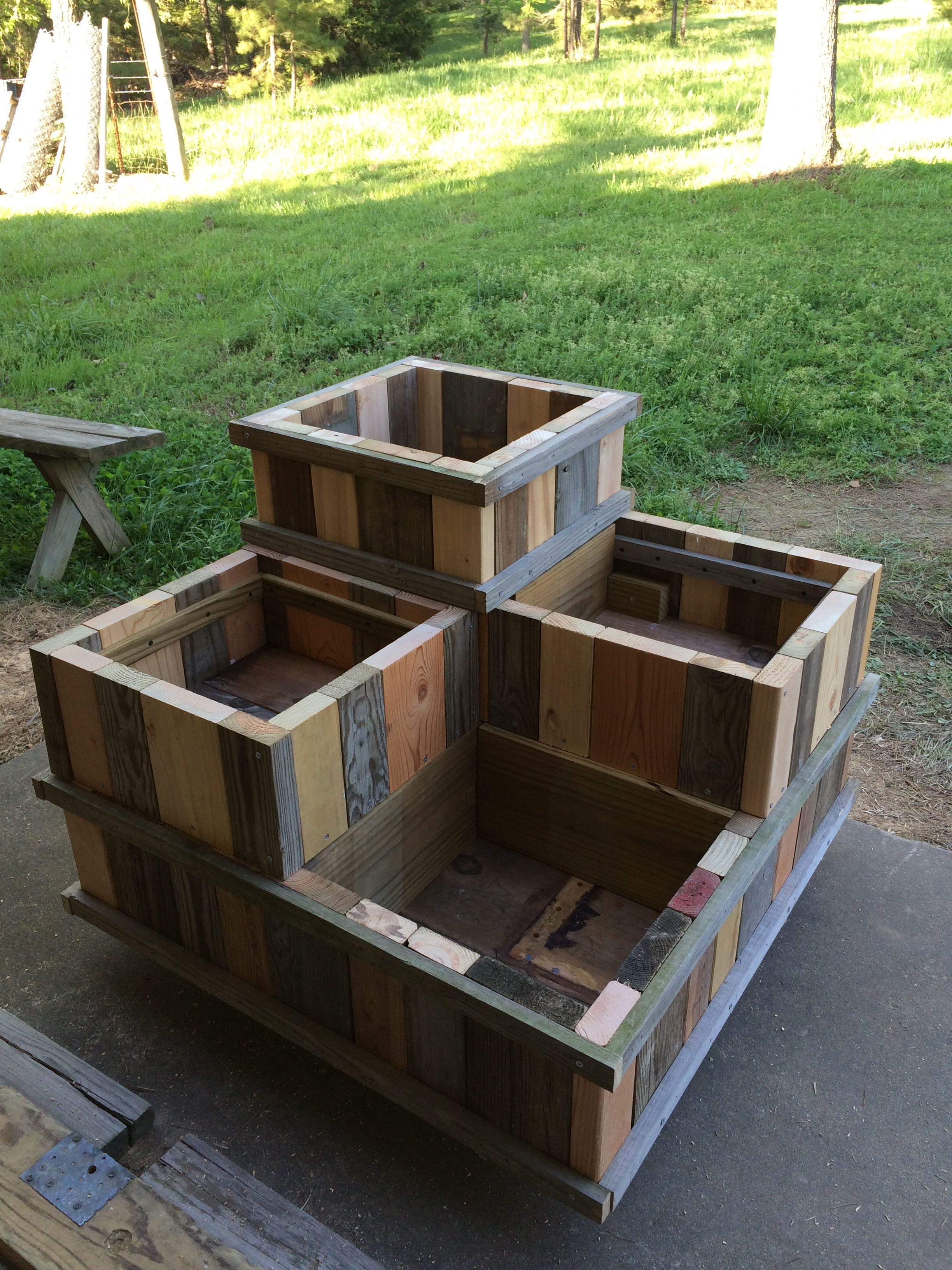 Threetiered planter box made from 100 salvaged materials