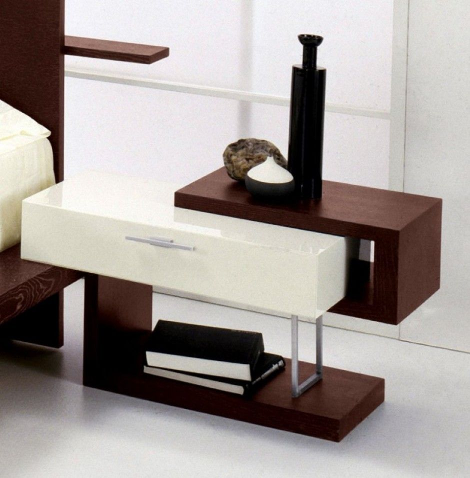 Simple bedside table design with single white drawer hard Night table ideas