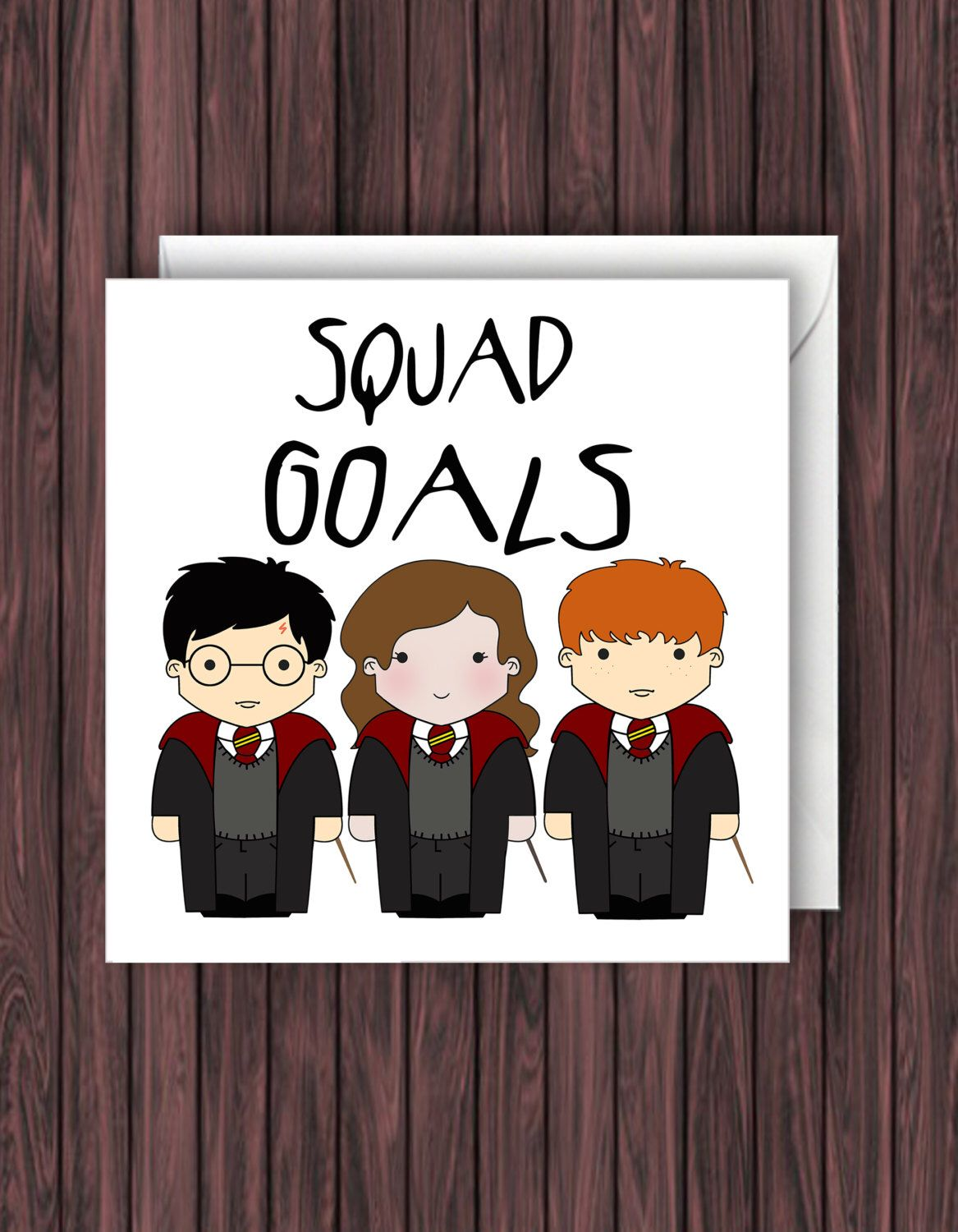 Squad Goals Harry Potter Birthday Card Geek Blank Card Funny
