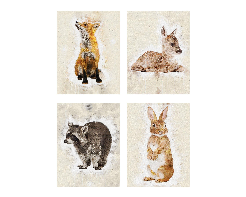Watercolor Woodland Forest Animals Nursery Decor Print