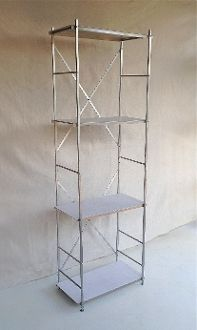 Solo Tower Shelf System 6 Foot Tall By 2 Wide 1 Deep With 4 Adjule Aluminum Shelves White Liners Two Insert Areas