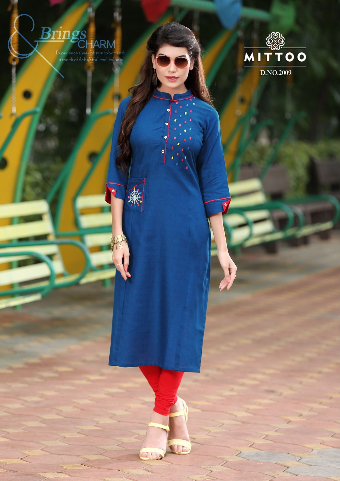 Muslim Girls Dark Blue Kurtis Patches Dark Teal