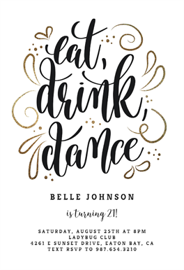 Eat Drink Dance Party Invitation Template Free Greetings Island Party Invite Template Dance Party Invitations Cocktail Party Invitation