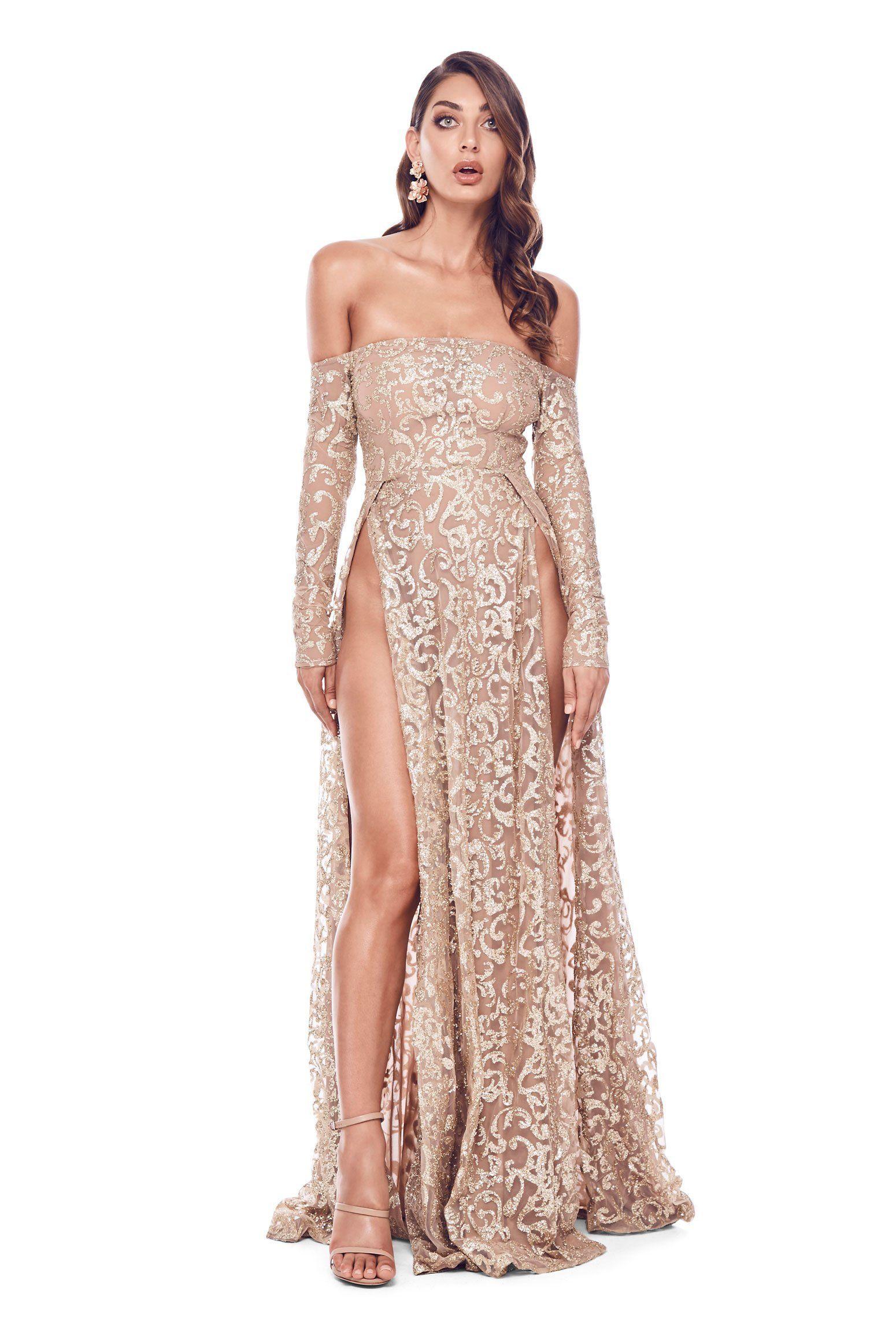c017605168ef52 Flame Glitter Gown - Gold | Glitter Dresses | Glitter dress, Dresses ...