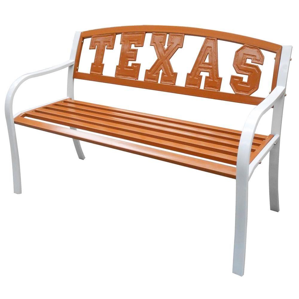 leigh country texas longhorns metal patio bench