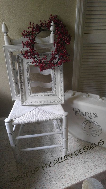 White Ladder Back Chairs Rush Seats How To Build A Wooden Chair Ladderback Shabby Chic Annie Sloan Pure R Seat By Rightupmyalleydesign On Etsy
