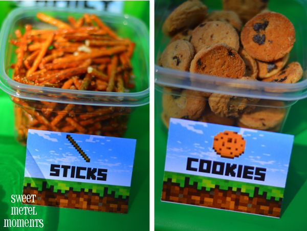 minecraft party free food labels by sweet metel moments