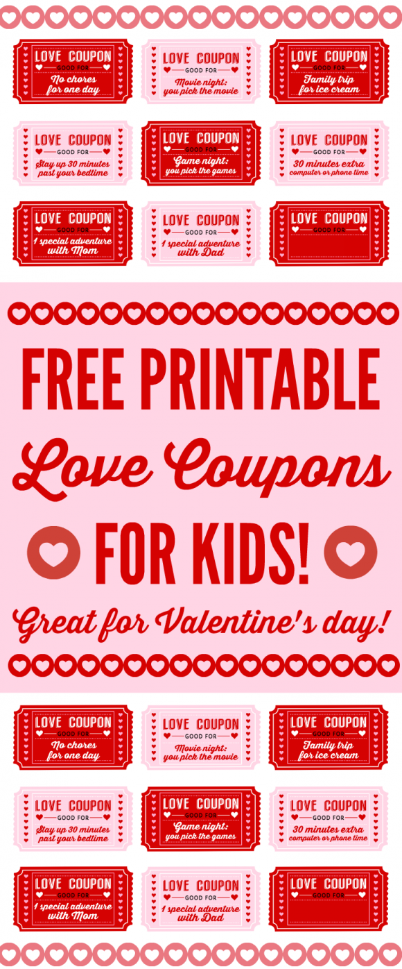 Free Printable Love Coupons for Kids On Valentines Day – Valentines Day Coupon