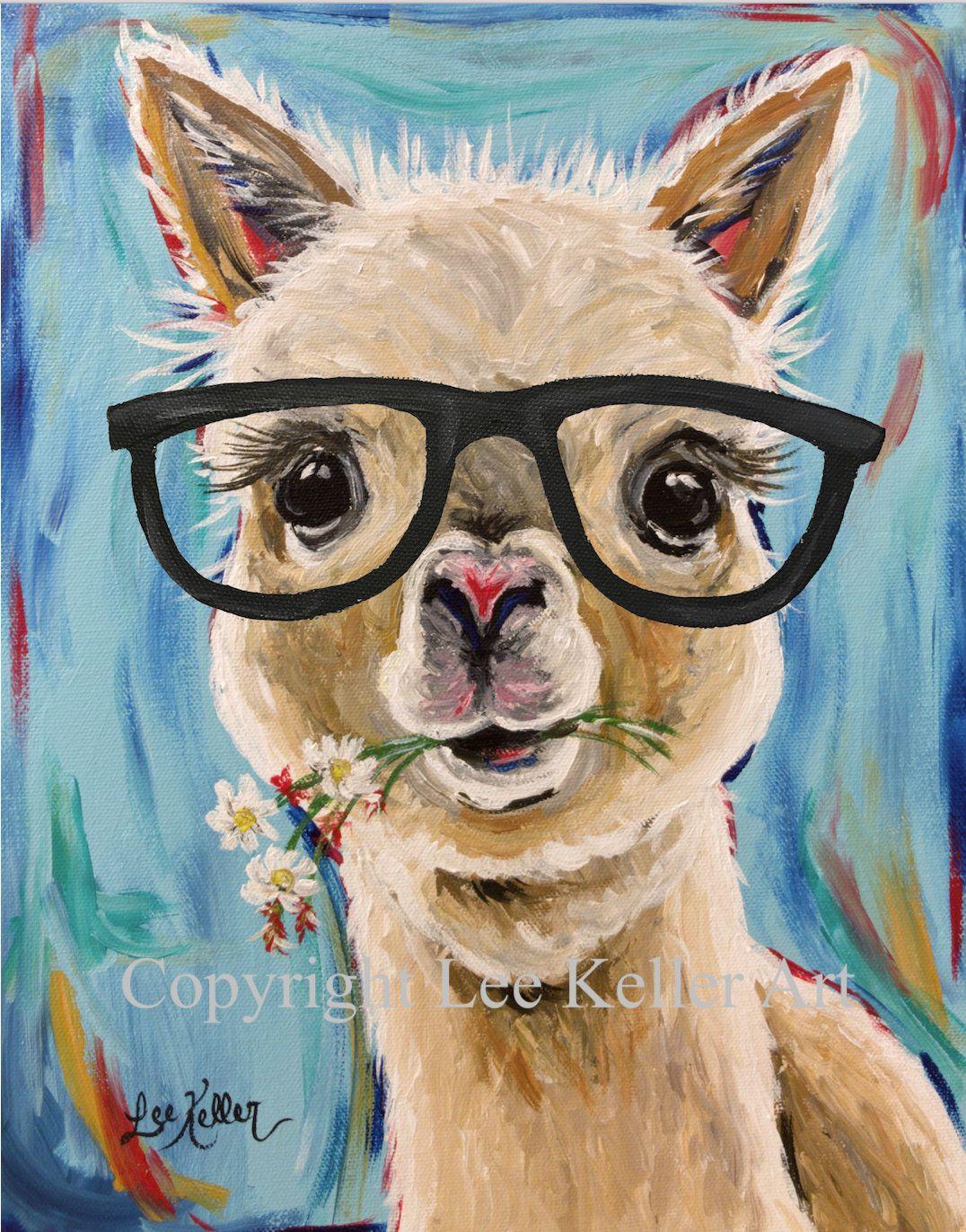 b53a6b18d957 Alpaca with glasses art