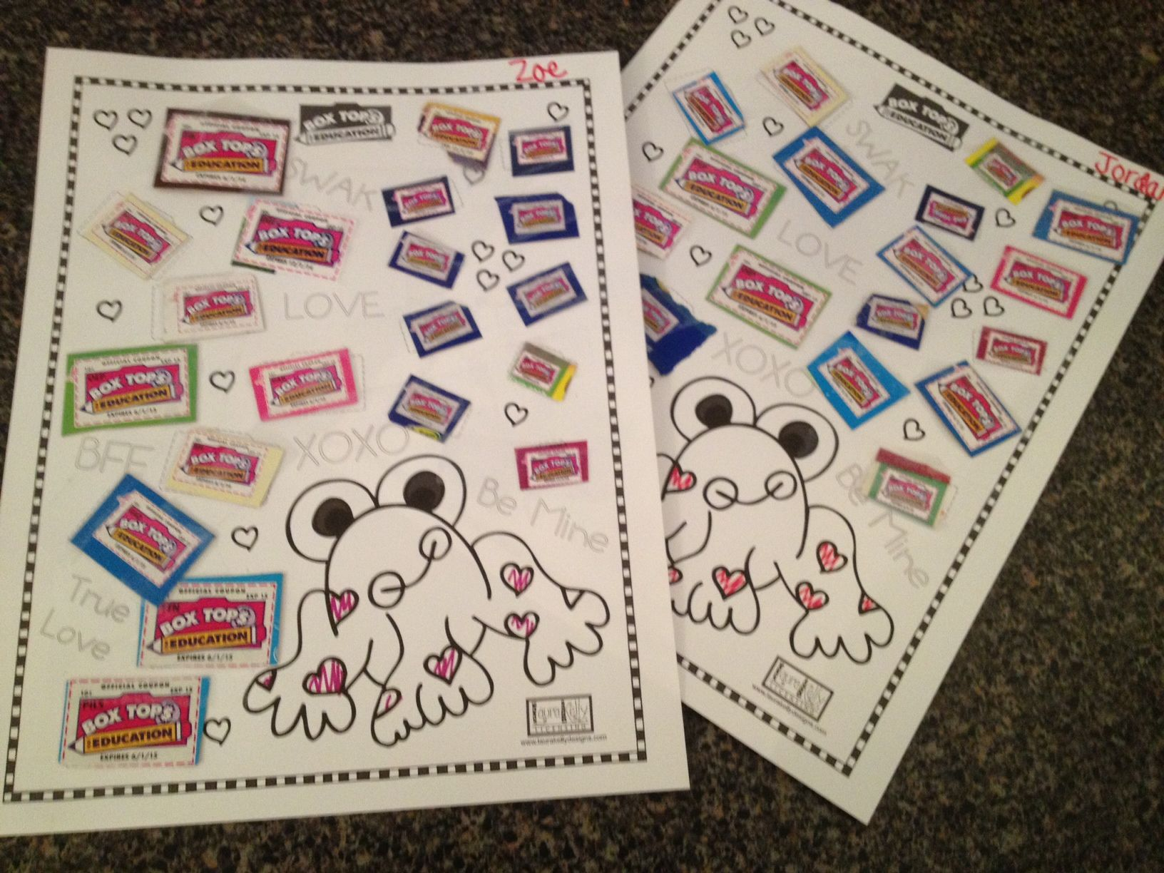 Valentines Day Frog Sheet For Box Tops