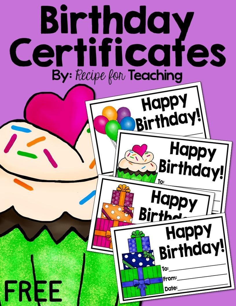 Birthday Certificates Teaching Resources Pinterest Free