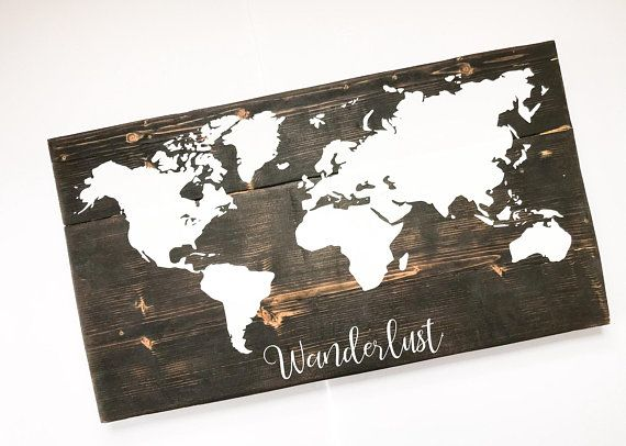 Wood World Map Wall Art Wooden Map of the World with Push
