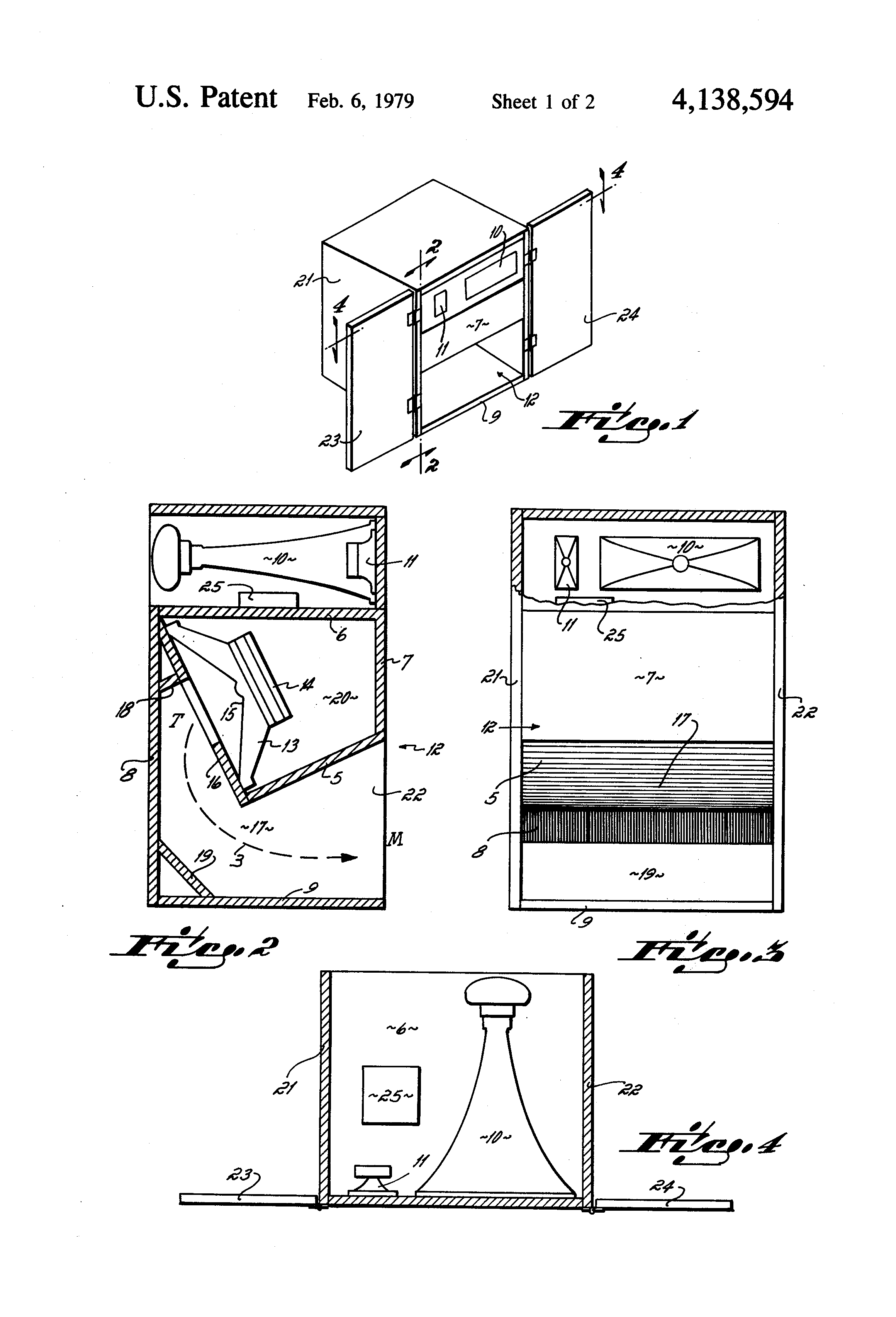 Patent Us4138594 Small Dimension Low Frequency Folded Exponential Horn Loudspeaker With