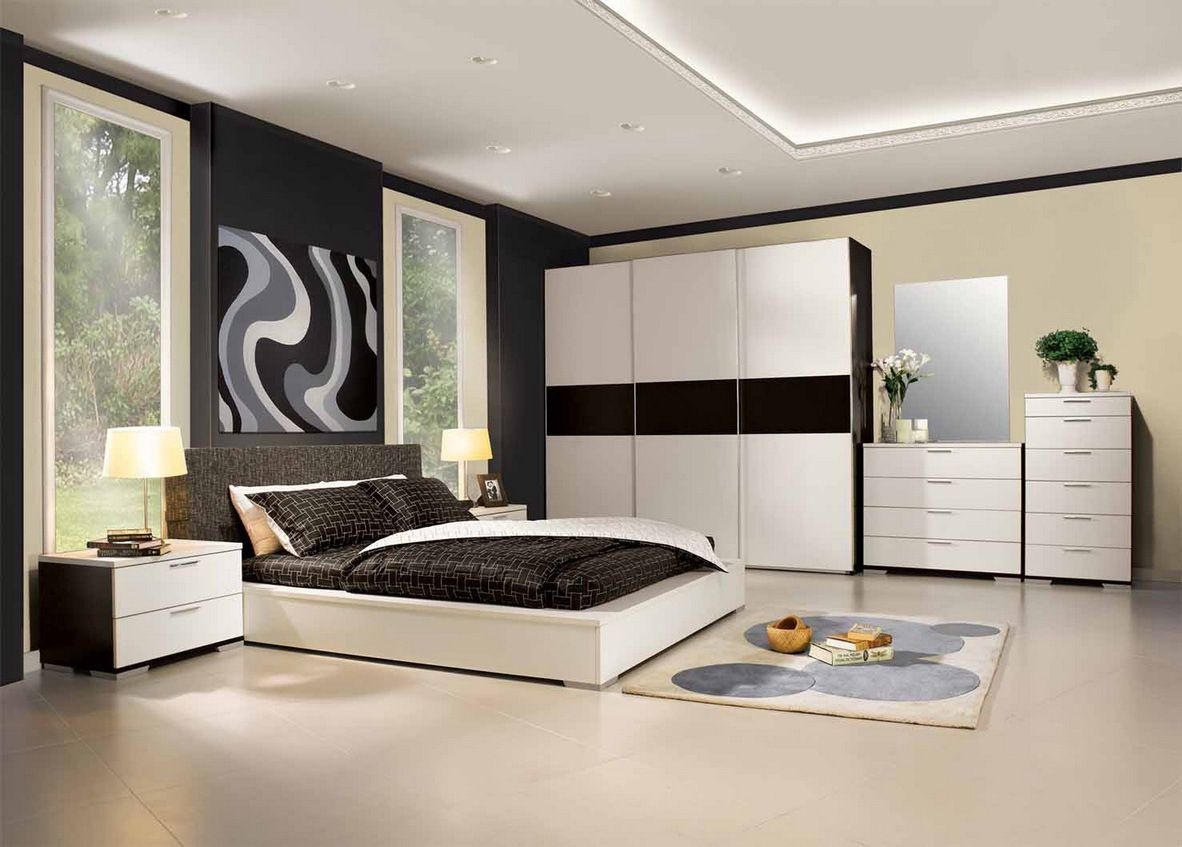 Delightful Interior Designs U203a Beauty Black And White Bedroom Interior Design .  Furniture Design Bedroom Beauty Black And White Bedroom Interior Design  With Dazzling ...