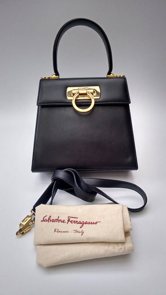Sale FERRAGAMO Salvatore Ferragamo Vintage Black Leather Salvatore Ferragamo,  Couro Preto, Bolsas 9cf46c669e