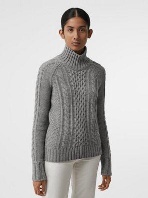 grigio Medio Pullover In A Mélange Trecce Collo Cashmere Alto T1q6xf
