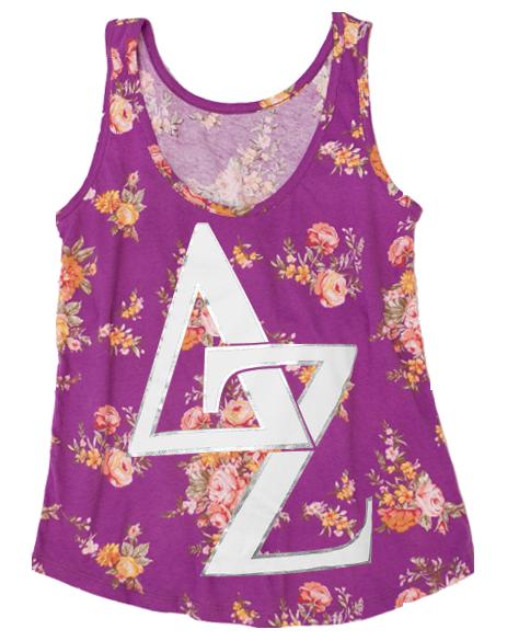 Delta Zeta Letters Floral Tank