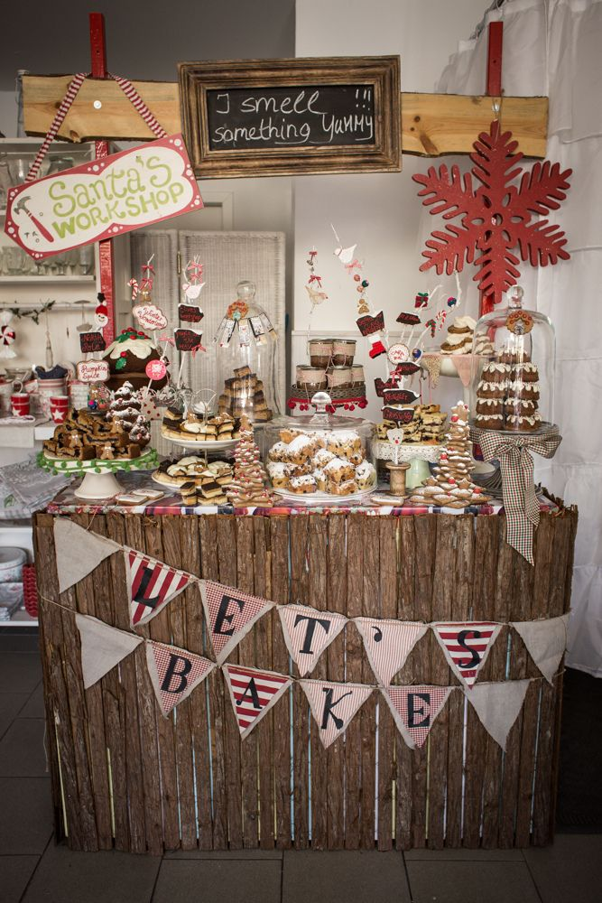 Christmas Booth With Cake Buffet Christmas Booth Christmas Market Stall Christmas Stall Ideas