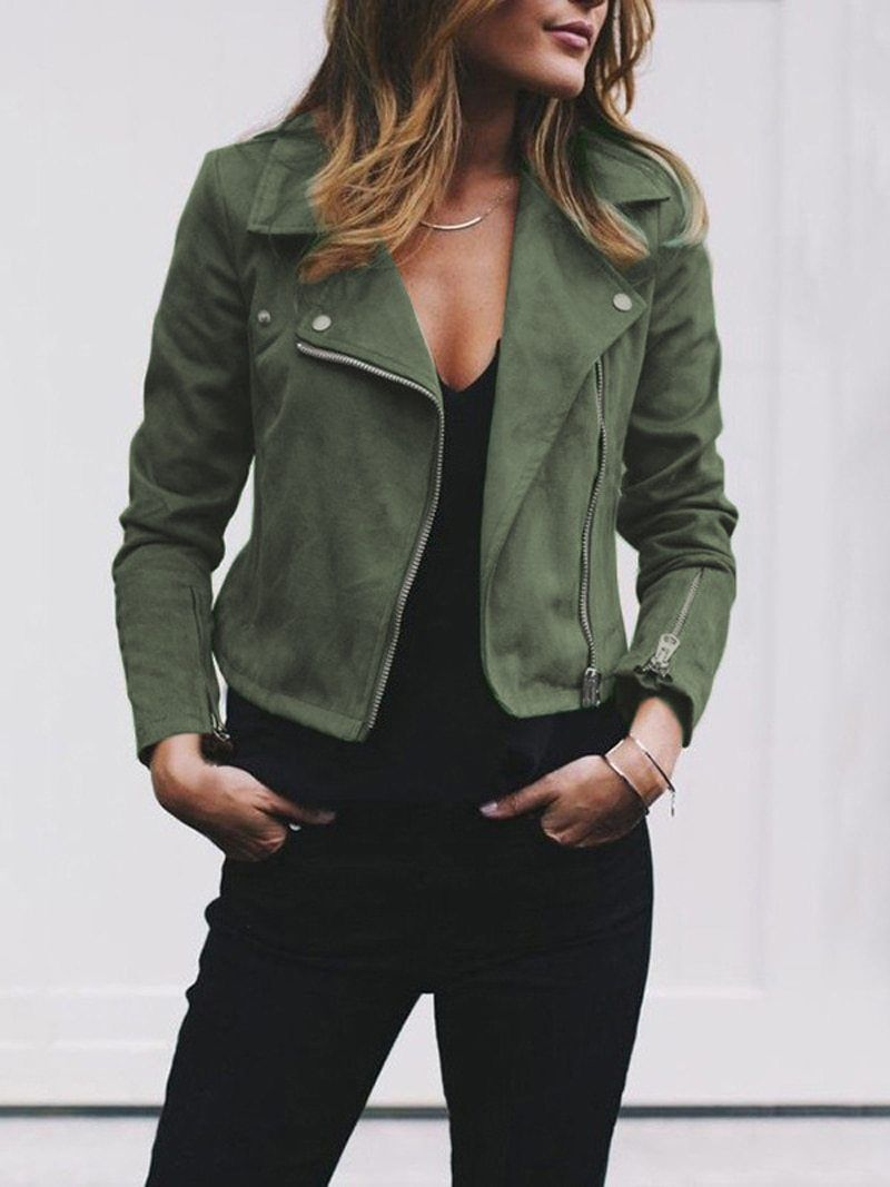 Casual Fall Zippers Jacket Leather Jackets Women Womens Fashion Jackets Jackets For Women [ 1067 x 800 Pixel ]