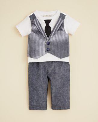 fa5231baa289 Miniclasix Infant Boys  Faux Vest Tee and Pants Set - Sizes 3-9 Months