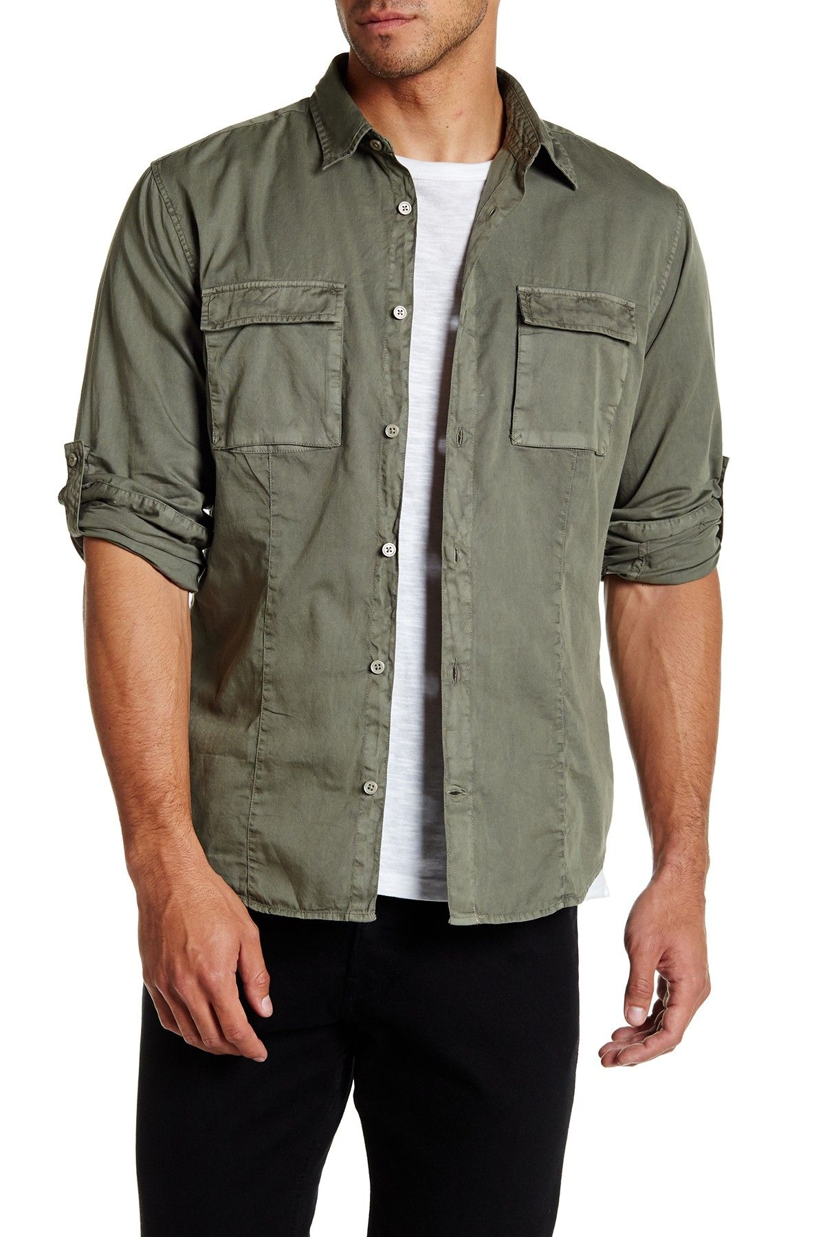 Solid Long Sleeve Slim Fit Utility Shirt