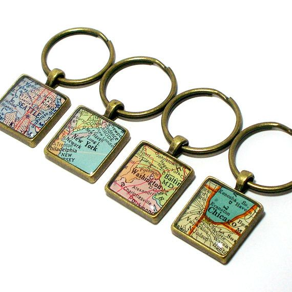 Custom vintage map keychain you pick city state or country custom map keychain you select location anywhere in the world one map keyring gumiabroncs Gallery