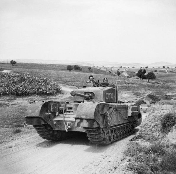 A Churchill tank in the Medjez-el-Bab area, 23-25 April 1943.